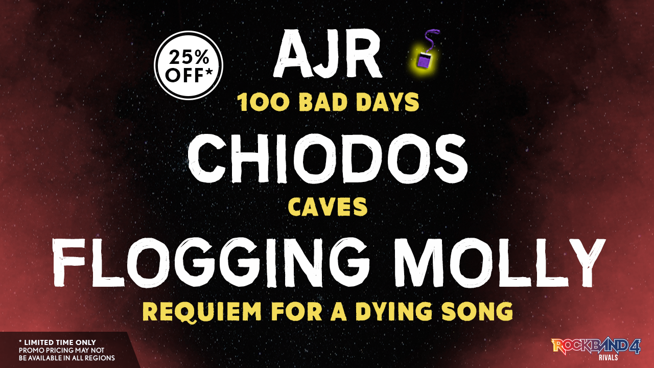 Harmonix Blog: DLC Week of 7/18: AJR, Chiodos, and Flogging