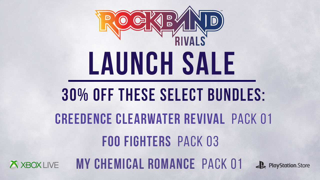 Rock Band Rivals Launch Sale: 30% Off Select DLC Packs from October 18 - 24