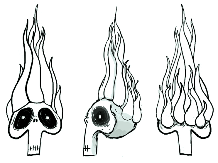 Flaming skulls were the first inspiration for Ronnie's Groove transformation.